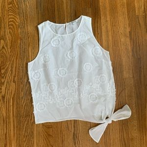 Madewell White flower embroidered tank top
